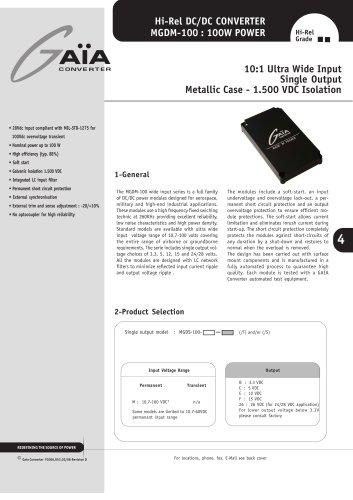 DC/DC Module Datasheet 100 Watts Series