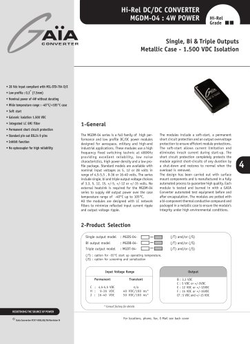 DC/DC Module Datasheet 4 Watts Series