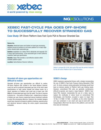 XEBEC FAST-CYCLE PSA GOES OFF-SHORE TO SUCCESSFULLY RECOVER STRANDED GAS