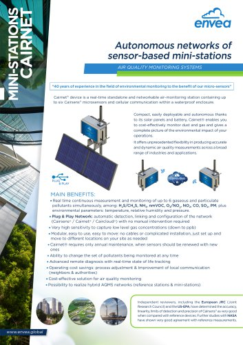 Cairnet - air quality and odour monitoring sensor based mini-stations