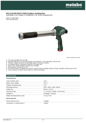 KPA 10.8 600 (602117000) CORDLESS CAULKING GUN