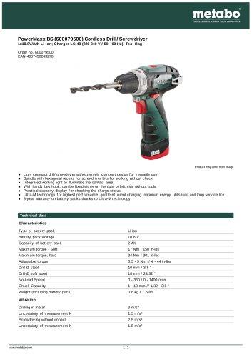 POWERMAXX BS (600079500) CORDLESS DRILL / SCREWDRIVER