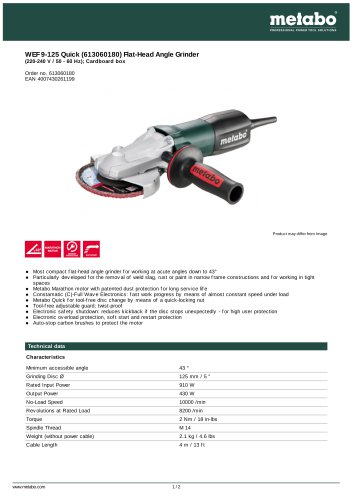 WEF 9-125 Quick (613060180) Flat-Head Angle Grinder