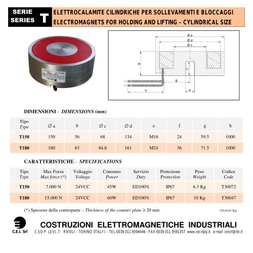 ELECTROMAGNETS FOR HOLDING AND LIFTING – CYLINDRICAL SIZE
