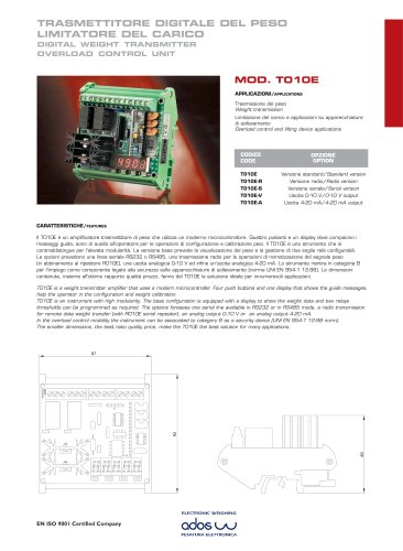 DIGITAL WEIGHT TRANSMITTERS T010