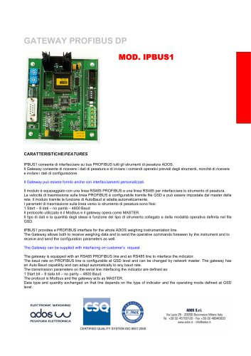 GATEWAY PROFIBUS DP MOD. IPBUS1