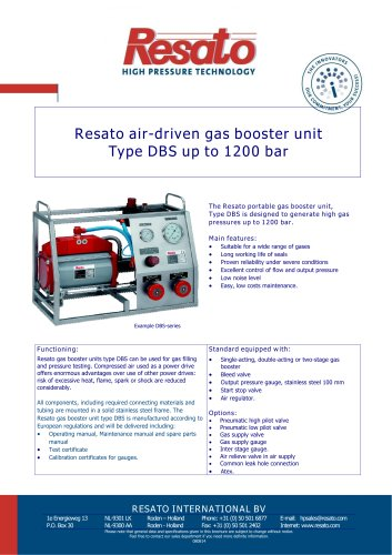Air driven gas booster unit