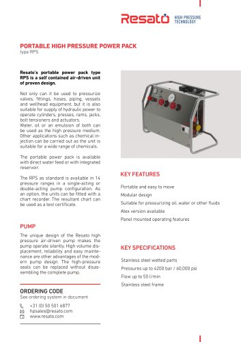 Air-driven hydraulic power unit (max. 4 200 bar, 50 l/min, RPS series)
