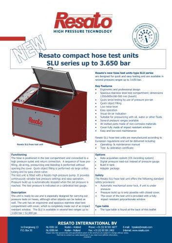 Resato compact hose test units SLU series up to 3.650 bar