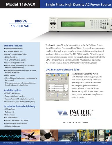 Model 118-ACX: Single Phase High Density AC Power Source (1800 VA)