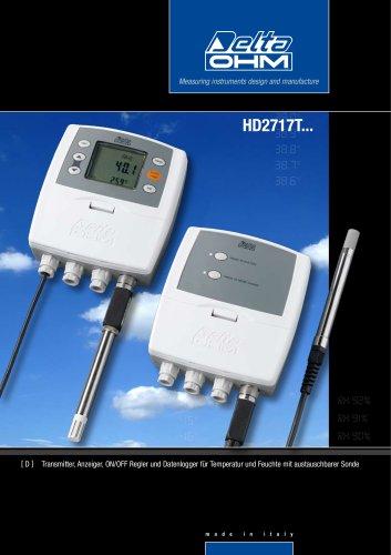 Transmitter, Anzeiger, ON/OFF Regler und Datenlogger für Temperatur und Feuchte mit austauschbarer Sonde