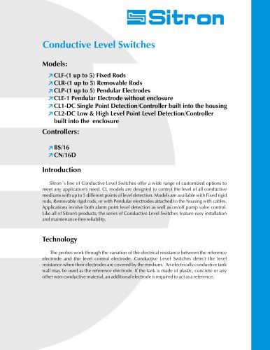 Sitron's Line Of Conductive Level Switches