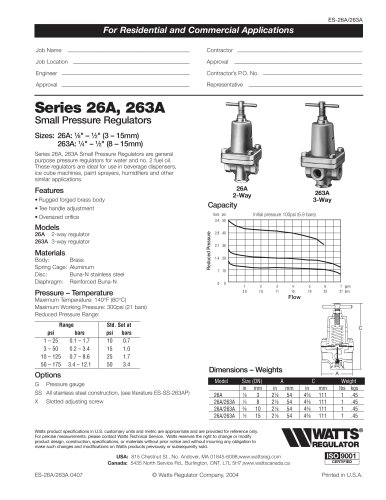 Small Pressure Regulators, 2-Way