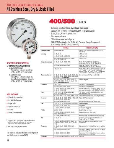 400/500 Series All Stainless Steel Pressure Gauges 400 Series Dry & 500 Series Liquid