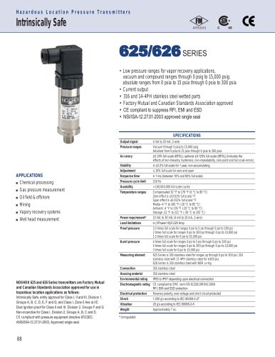 625/626 Series Intrinsically Safe Pressure Transmitters