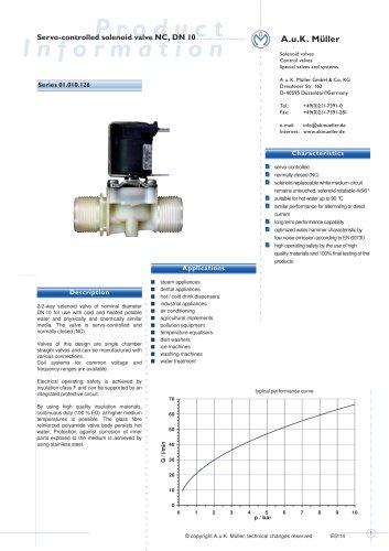 01.010.126 Servo-controlled solenoid valve NC, DN 10