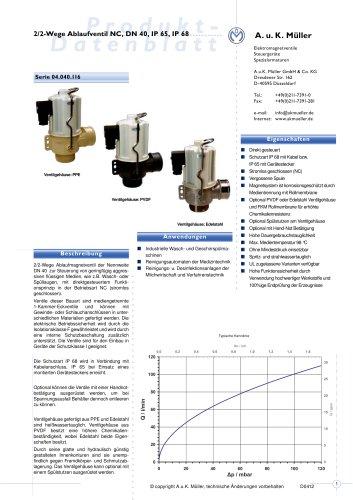 2/2-Wege-Ablaufventil NC, DN 40 IP 65, IP 68
