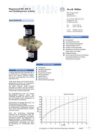 Magnetventil NC, DN 10 zwei Ventilkammern in Reihe