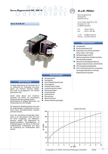 Servo-Magnetventil NC, DN 10
