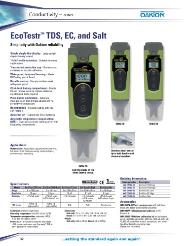 EcoTestr™ TDS, EC, and Salt