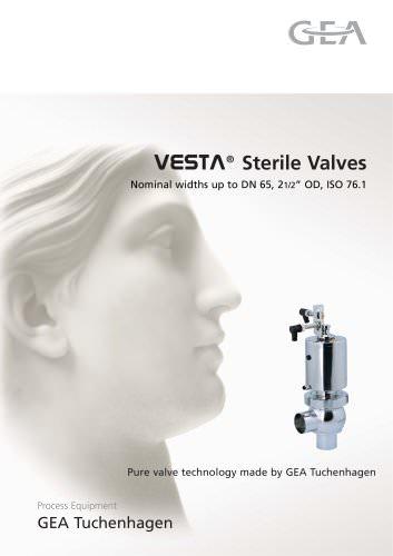 """VESTA® Sterile Valves Nominal widths up to DN 65, 21/2"""" OD, ISO 76.1"""