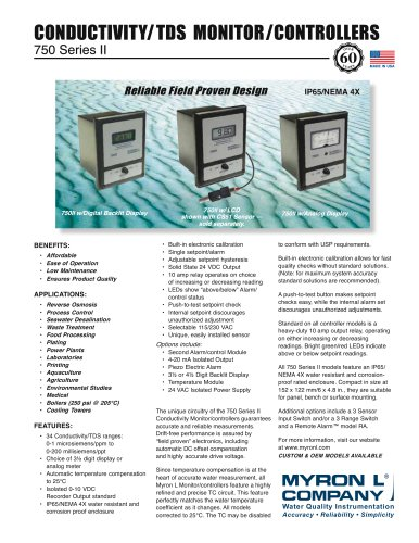 750 Series II: Conductivity/TDS Monitor/controller