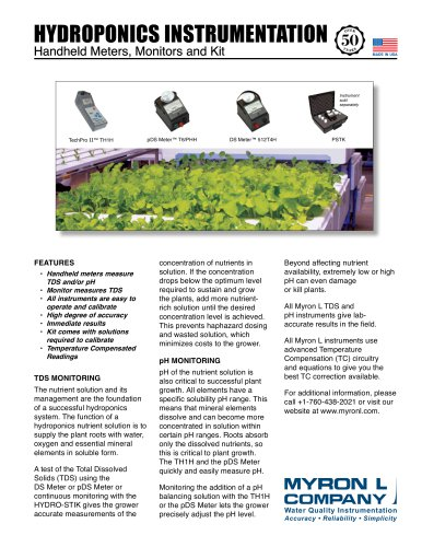 HYDROPONICS INSTRUMENTATION Handheld Meters, Monitors and Kit