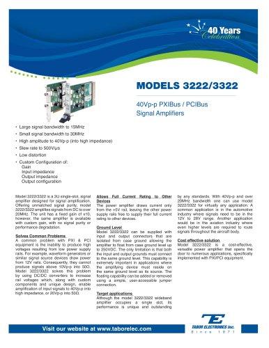 Model 3222/3322 40Vpp PXIBus/PCIBus Signal Amplifiers