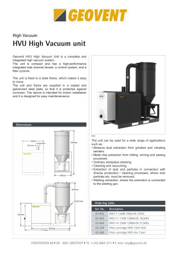 High Vacuum Unit HVU