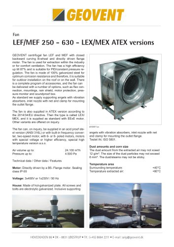 LEF/MEF 250 - 630 - LEX/MEX ATEX versions