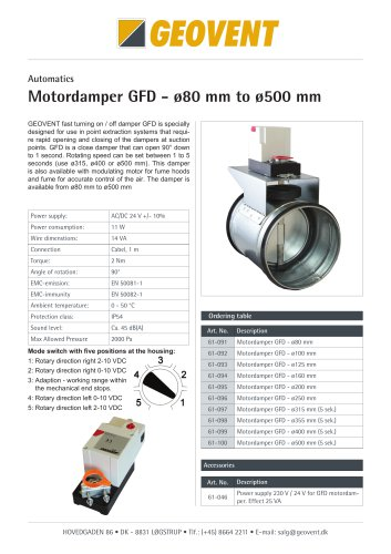 Motordamper GFD-24 - ø80 mm to ø500 mm