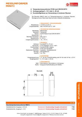 Datenblatt Raumsensor Mini72