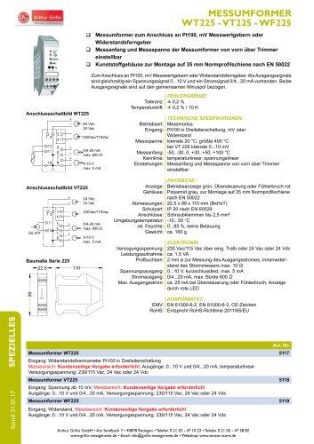 Datenblatt WT225, VT225, WF225