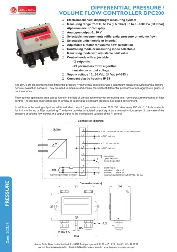 Differential pressure / Volume flow controller DPC200R