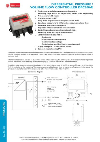 DPC200-R - differential pressure / volume flow controller
