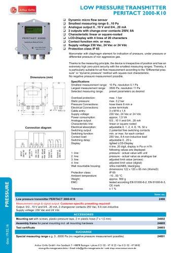 Peritact 2000-K10 - Low pressure transmitter