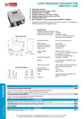 Peritact 2000 - Low pressure transmitter