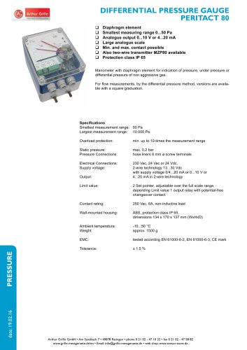 Peritact 80 / MZP80 - differential pressure gauge