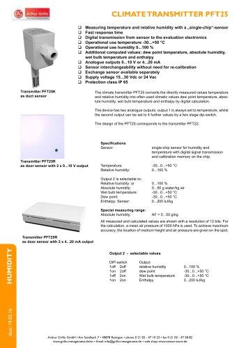 PFT25A, PFT25K, PFT25R - climate transmitter