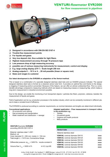 Venturi-flowmeter EVR2000 - venturi-flowmeter for flow measurement in pipelines