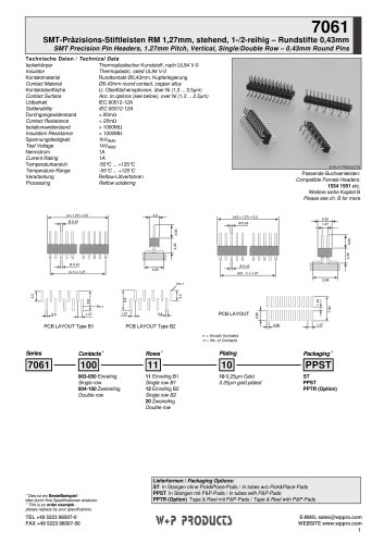 7061 series - SMT Precision Pin Headers