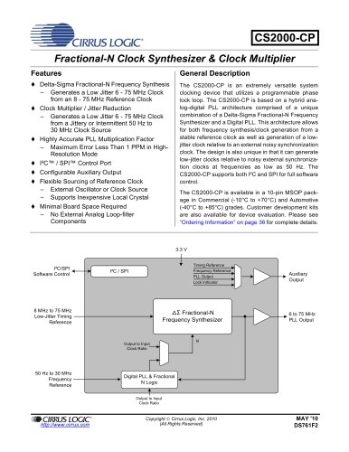 ClockCS2000 Family Generation and Multiplication/Jitter Reduction Solution