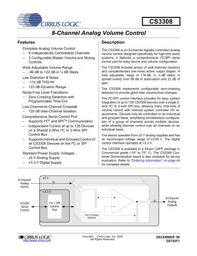 CS3308/18 High-Performance 8-Channel Analog Volume Control