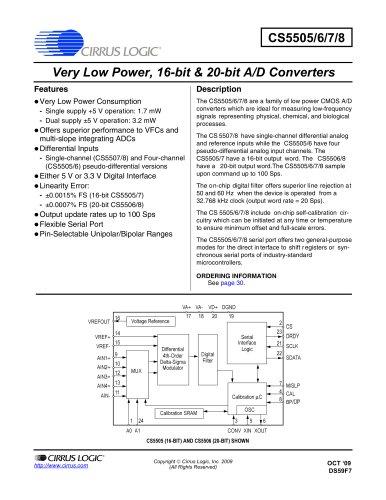 CS5505/06/07/08 Low-Power, 16/20-Bit A/D Converters