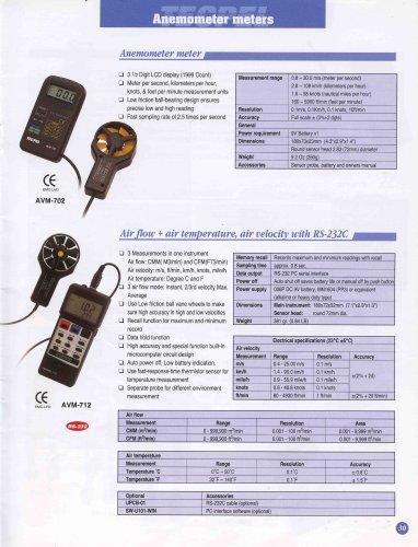Anemometer  Air Flow  Air Speed Temperature meter