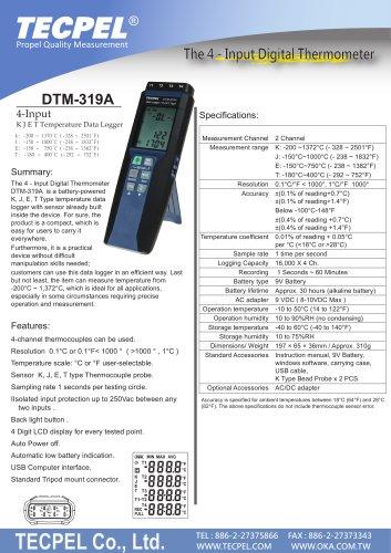 Digital temperature data logger K J E T thermocouple recorder  Tecpel DTM-319A