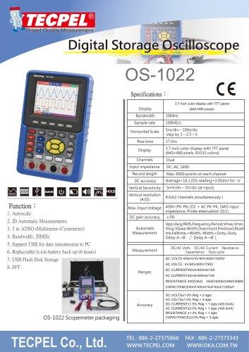 Handheld 20MHz Oscilloscope TECPEL OS-1022