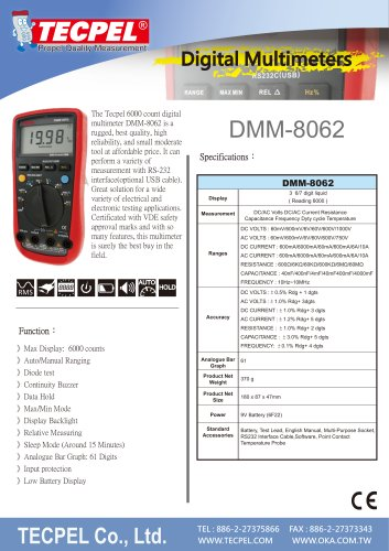 TECPEL®  6000 count digital Multimeter DMM-8062