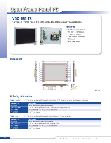 """VOX-150-TS 15"""" Open Frame with Embedded Single Board Computer, LCD Panel and Touch Screen"""