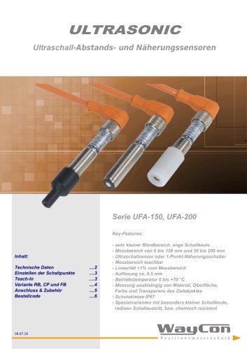 Ultraschallsensor UFA200, UFA150FB, UFA150CP